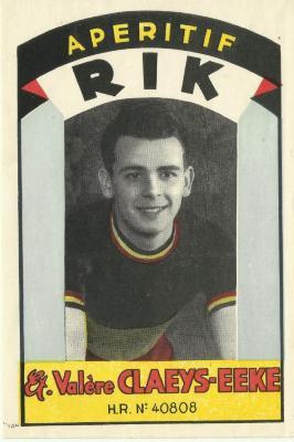 De beeltenis van wielerkampioen Rik Van Steenbergen op etiket van Eekse firma