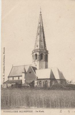 De oude kerk van Vosselaere