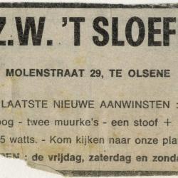 Advertentie v.z.w. 't Sloefke