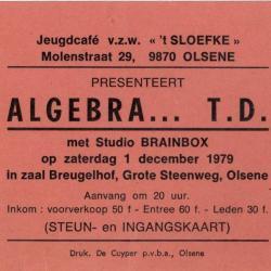 Steun- en ingangskaart Algebra T.D. jeugdhuis 't Sloefke