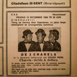 Aankondiging van het optreden van de 3 Charels in de Eekse parochiezaal