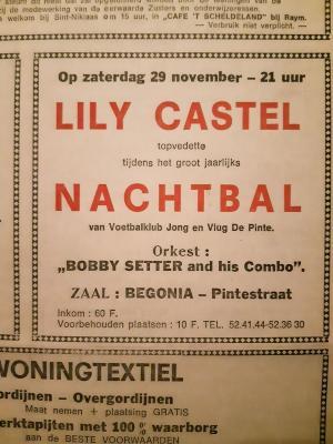 Zangeres Lily Castel op het nachtbal van de Voetbalklub Jong en Vlug De Pinte