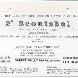 Uitnodiging voor het 2e Scoutsbal van de Scouts en Gidsen Deinze
