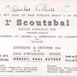 Uitnodigingen eerste bals van de Scouts en Gidsen van Deinze