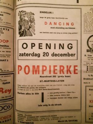 Advertentie opening dancing Pompierke