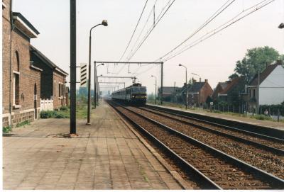 De trein komt aan in het station van Olsene