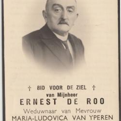 Bidprentje oorlogsslachtoffers Ernest De Roo