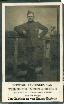 Bidprentje Theofiel Vermaercke, 1918