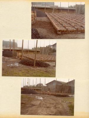 Opzetten van de eerste lagen van een steenoven bij de Firma De Fauw in Asper