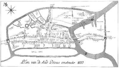Deinze, stadsplan omstreeks 1600
