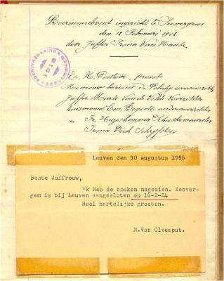 Bevestigingsbrief oprichting Boerinnenbond Zevergem