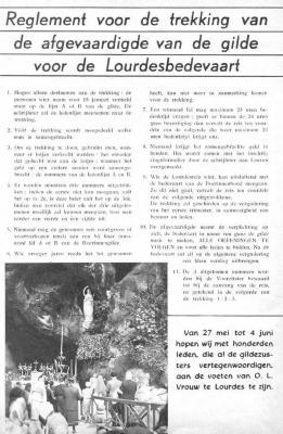Knipsel in verband met Lourdesbedevaart.