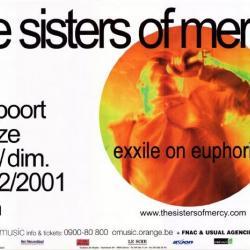 Aankondiging optreden van The Sisters of Mercy in de Brielpoort