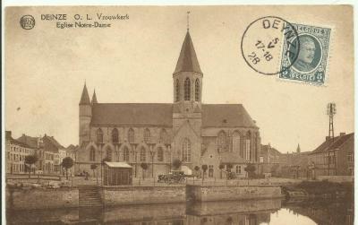 Zicht op de Onze-Lieve-Vrouwekerk Deinze