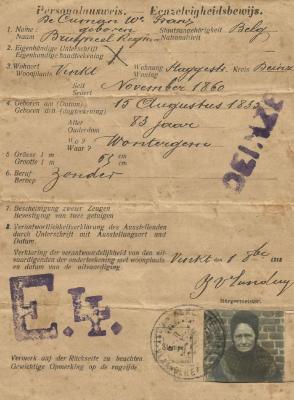 Identiteitsbewijs uitgereikt door de Duitse bezetter in W.O.I