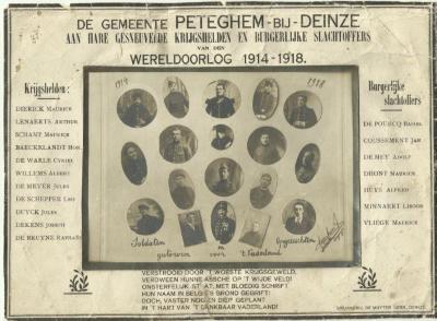 Herdenkingskaart voor de gesneuvelde soldaten en omgekomen opgeëisten van Petegem-aan-de-Leie
