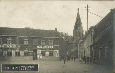 Machelen Dorpsplaats na beschietingen van de Eerste Wereldoorlog