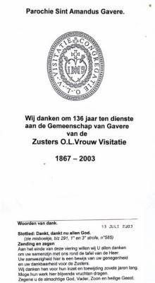 Afscheid Zusters Onze-Lieve-Vrouw Visitatie van Gavere.