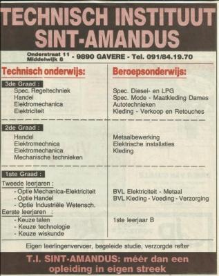 Advertentie van het T.I.S.A. in 't Fonteintje