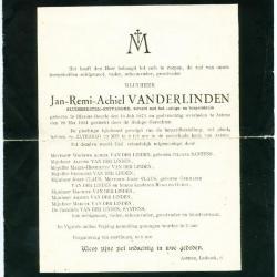 Rouwbrief en doodsprentje van Jan-Remi-Achiel Vanderlinden
