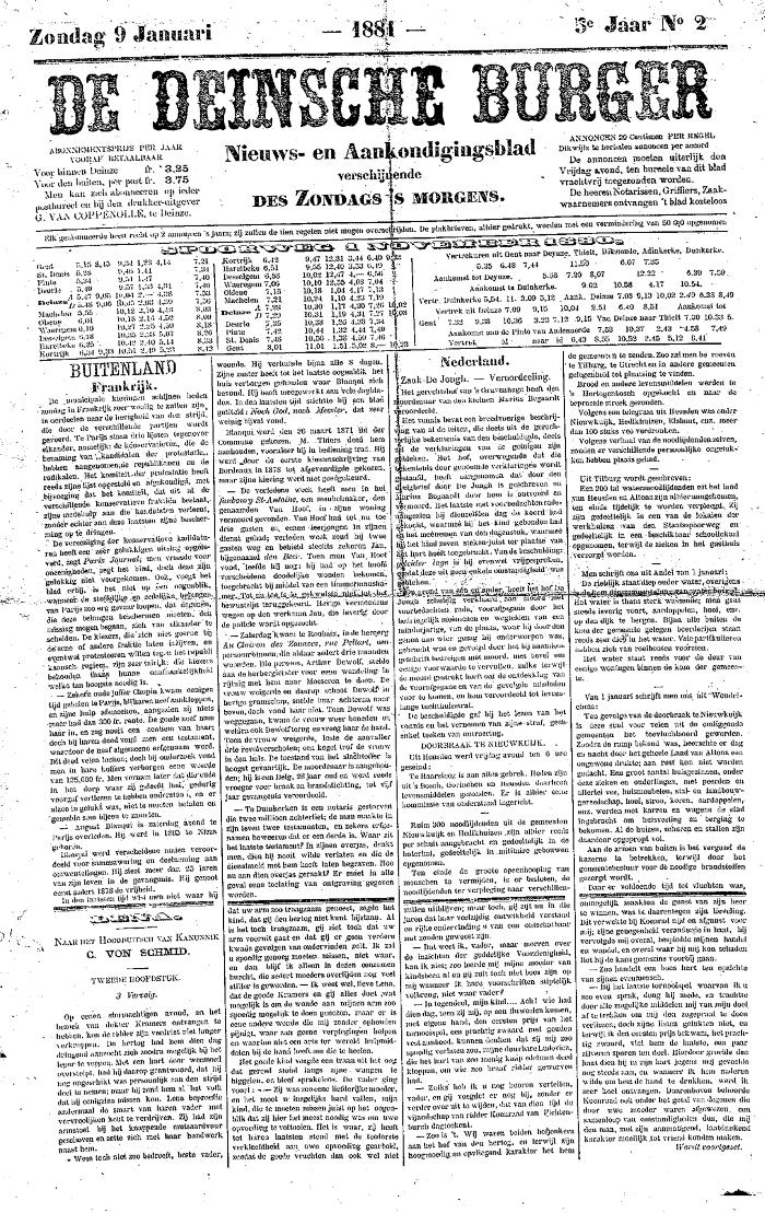 De Deinsche Burger: zondag 9 januari 1881