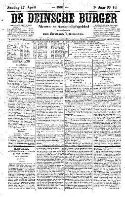 De Deinsche Burger: zondag 17 april 1881