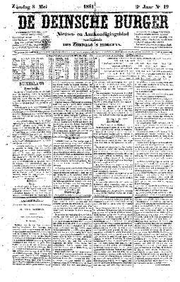 De Deinsche Burger: Zondag 08 mei 1881
