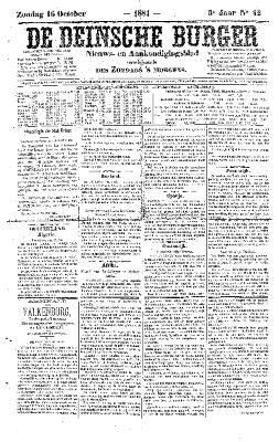 De Deinsche Burger: zondag 16 oktober 1881