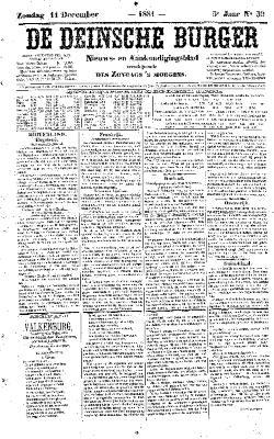 De Deinsche Burger: Zondag 11 december 1881