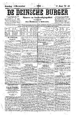 De Deinsche Burger: zondag 4 december 1881