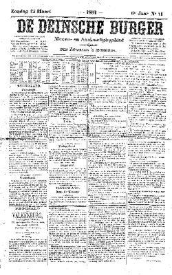 De Deinsche Burger: Zondag 12 maart 1882