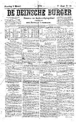 De Deinsche Burger: Zondag 5 maart 1882