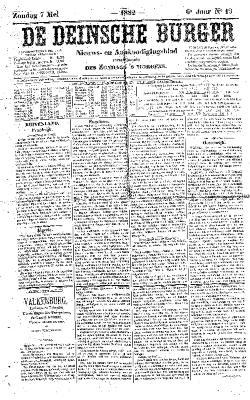 De Deinsche Burger: Zondag 7 mei 1882