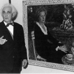 Leon De Smet poseert voor een portret van zijn vrouw Claire