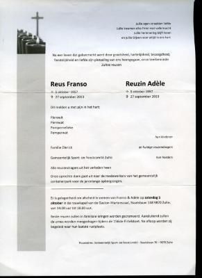Doodsbrief Franso en Adèle