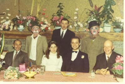 Gastonske en Titi op het huwelijksfeest van André De Poorter en Sylva Deblanc