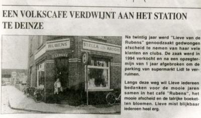 Krantenartikel afbraak café Rubens