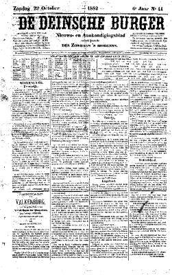 De Deinsche Burger: Zondag 29 oktober 1882