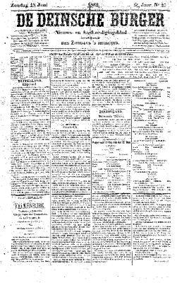 De Deinsche Burger: Zondag 18 juni 1882