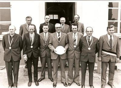 De kampioenen van de Schuttersgilde Sint-Sebastiaan van Asper.