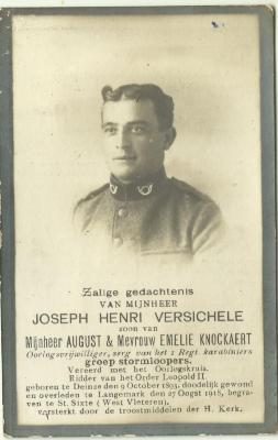 Bidprentje van Joseph Henri Versichele