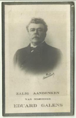 Doodsprentje van burgemeester Galens