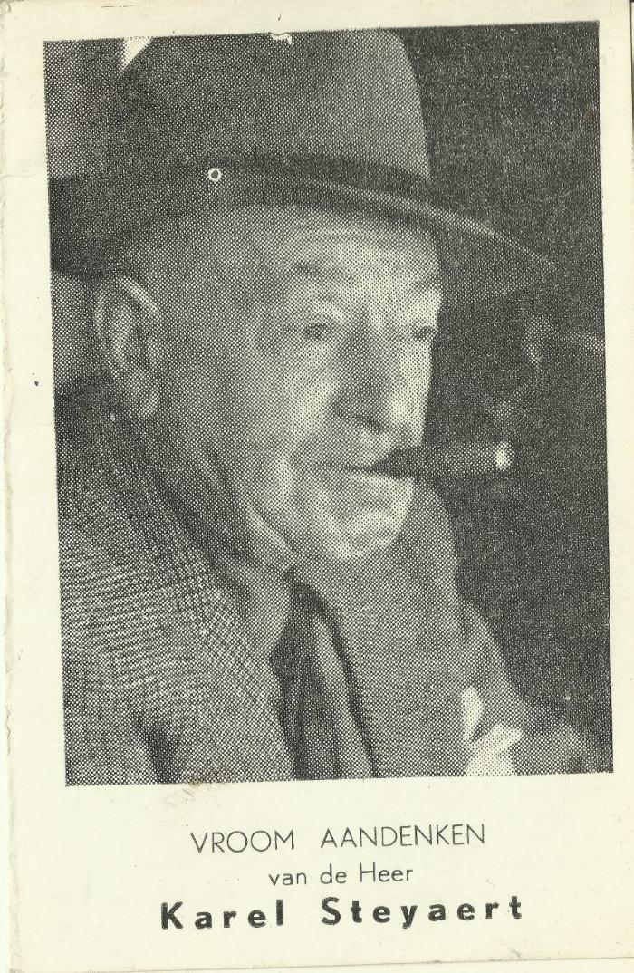 Het bidprentje van Karel Steyaert (Karel Van Wijnendaele)