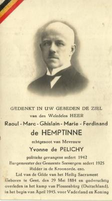 Het bidprentje van Raoul de Hemptinne