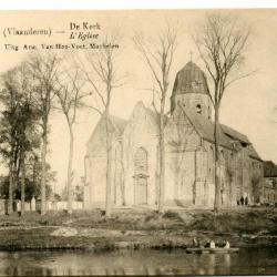 Idyllisch zicht op de Sint-Michiels en Sint-Corneliuskerk van Machelen-aan-de-Leie