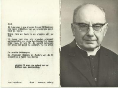 bidprentje van ere-kannunik Gerard Dhaenens