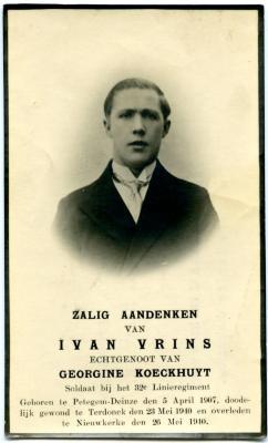 Bidprentje van soldaat Ivan Vrins
