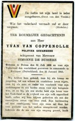 Doodsprentje politiek gevangene Yvan Van Coppenole