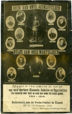 Herdenkingskaart voor de Olsense gesneuvelden uit de Eerste Wereldoorlog