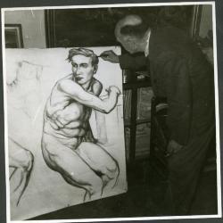 Weduwe Marie Minne bij zelfportret Edgar
